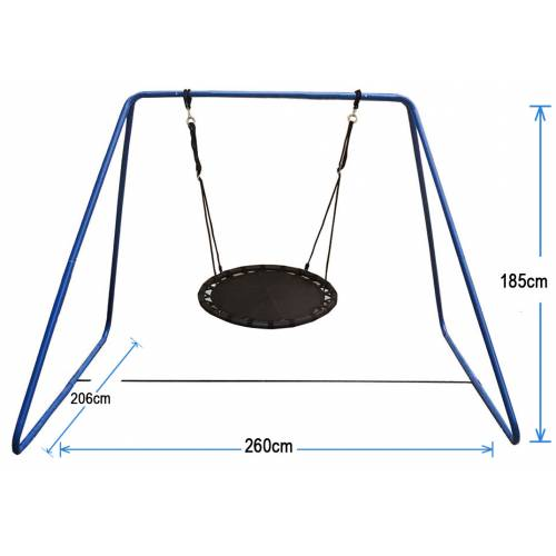 100cm Black Nest Swing with Blue Swing Set Stand