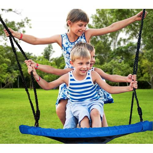 3 Kids on Blue Nest Swing