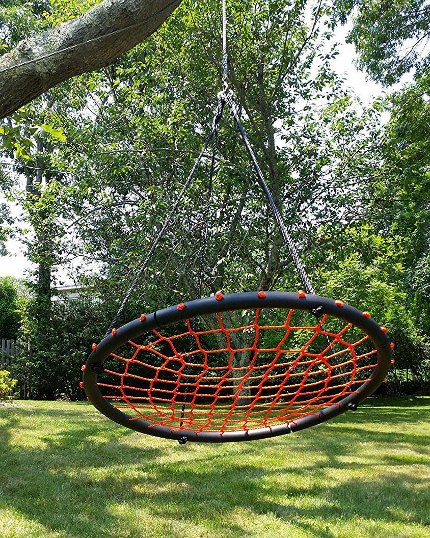 100cm Orange Round Spider Web Nest Swing Heavenly Hammocks