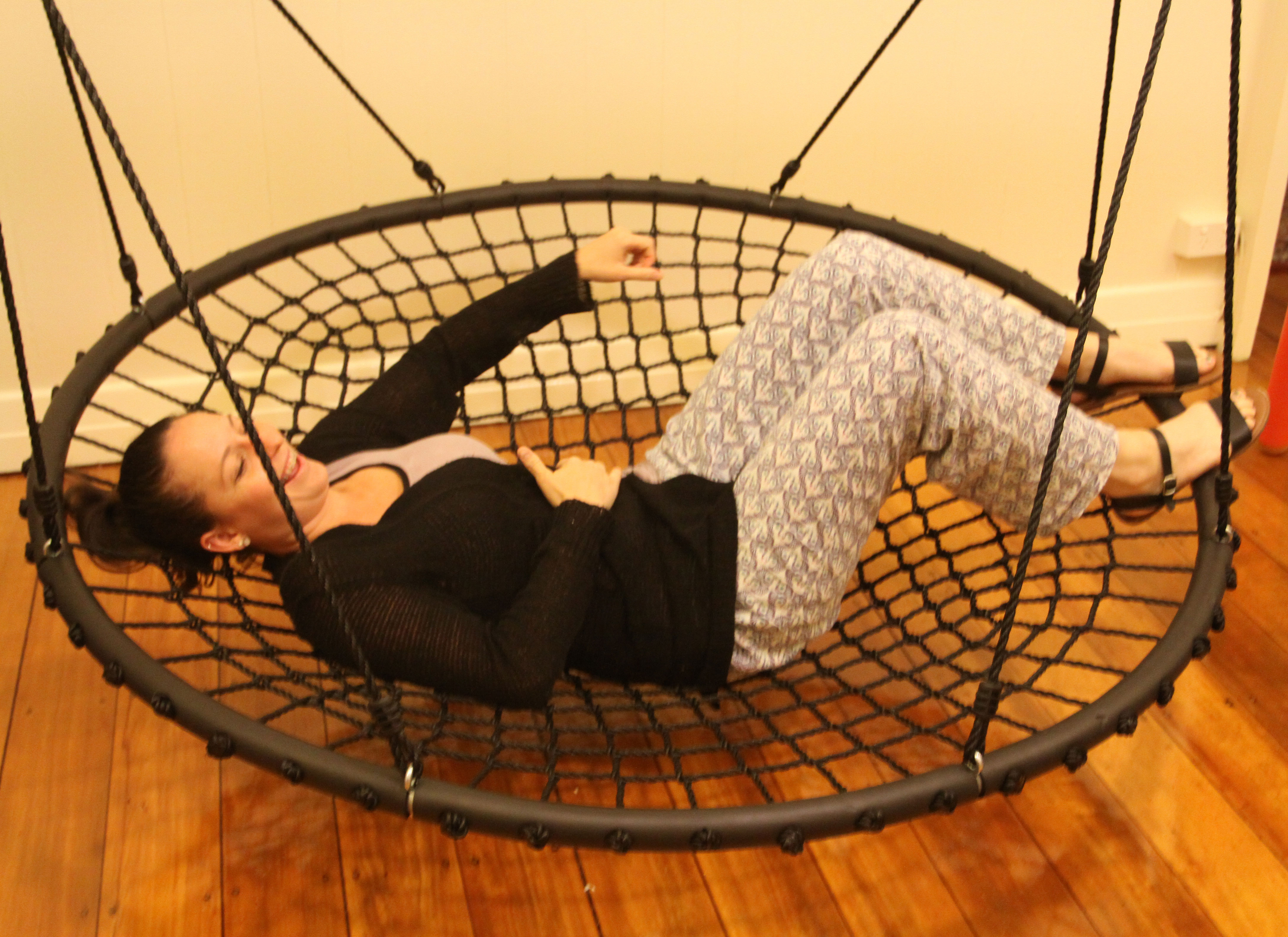 150cm Black Rope Nest Swing Heavenly Hammocks