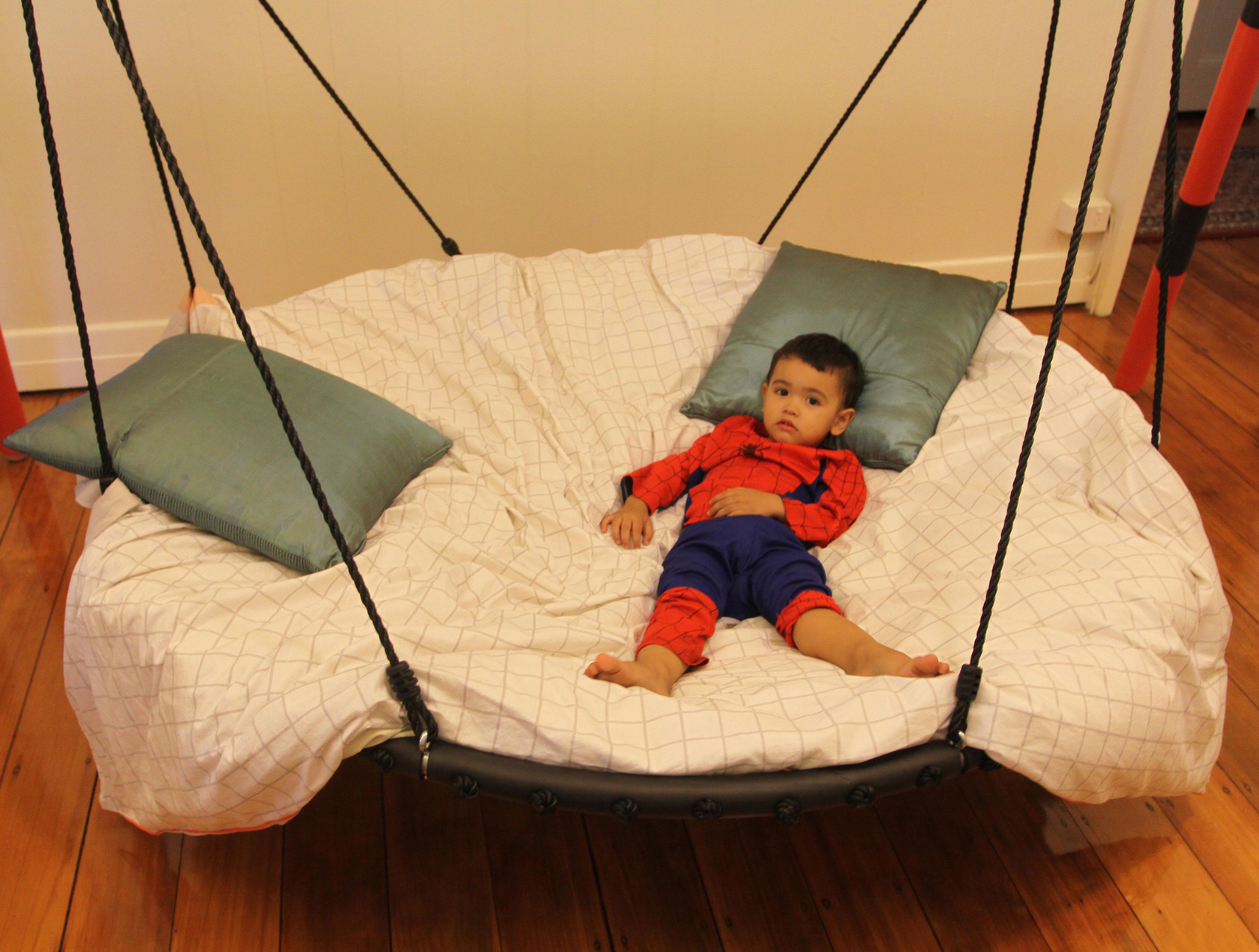150cm Black Rope Nest Swing Heavenly Hammocks