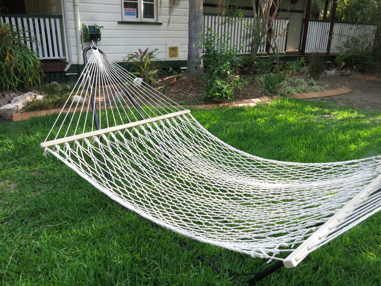 polyester rope pad quilted lazy pillow stand feet hammocks green cotton steel with stripe hammock and daze