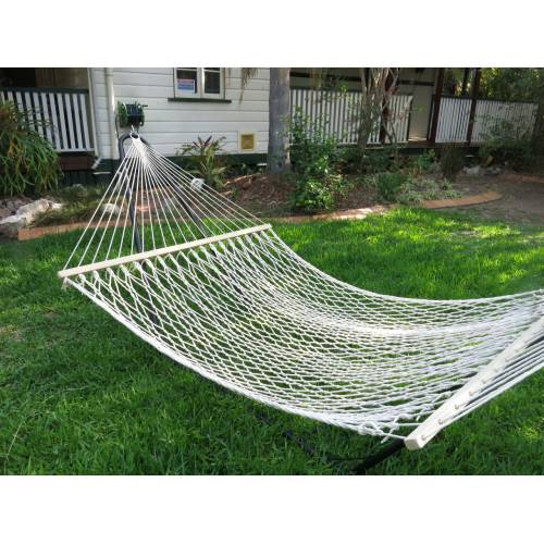 Large White Cotton Rope Hammock on Grass