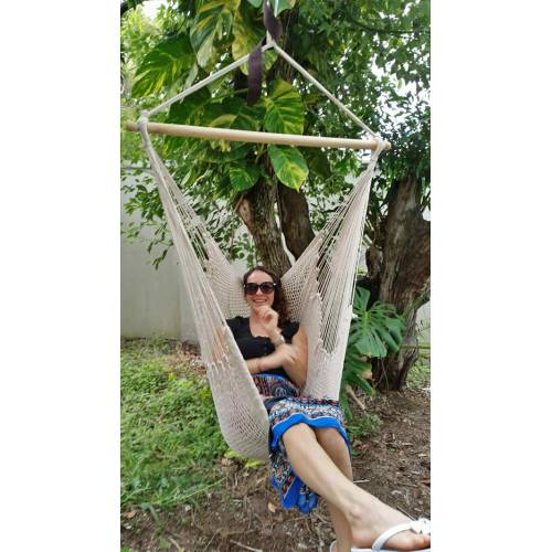 White Cotton Rope Hammock Chair and Woman