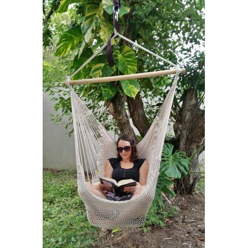White Cotton Rope Hammock Chair with Woman