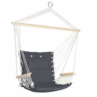 Dark Gray Padded Hammock Chair with Wooden Arm Rests and Pillow