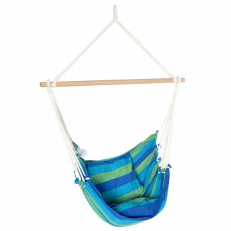Blue Canvas Hammock Chair with Pillows
