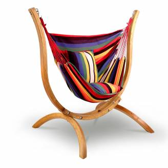 Multi Colour Hammock Chair with Pillows and Curved Wooden Stand
