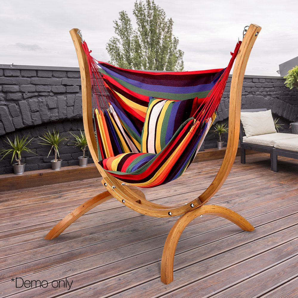 Multi Colour Hammock Chair With Pillows And Curved Wooden ...