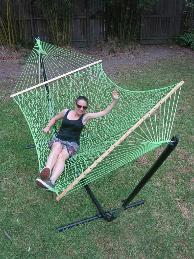 Large green cotton rope hammock with spreader bar for Rope hammock plans