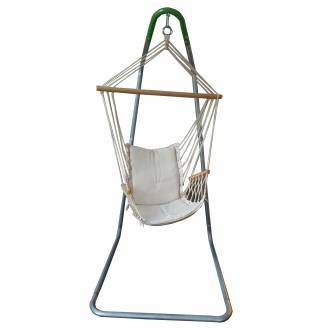 Beige Padded Hammock Chair with Wooden Arm Rests with U Stand