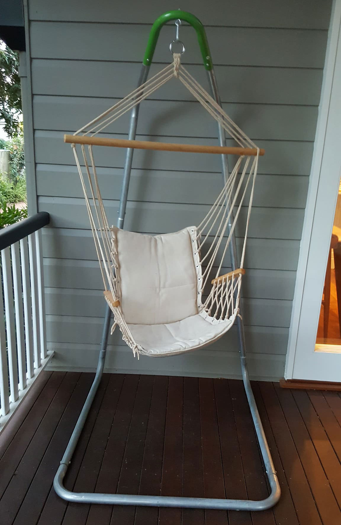 Picture of: Beige Padded Hammock Chair With Wooden Arm Rests With U Stand Heavenly Hammocks