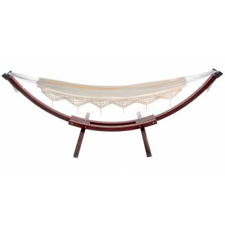 Free Standing Hammock: Large Beige Canvas Hammock with Dark Wood Stand