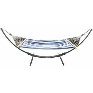 XL Free Standing Hammock: Blue and White Canvas Hammock and Arc Stand