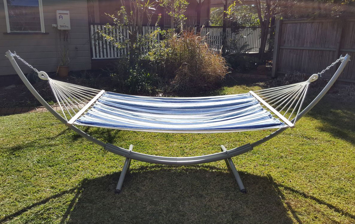 Xl Free Standing Hammock Blue And White Canvas Hammock