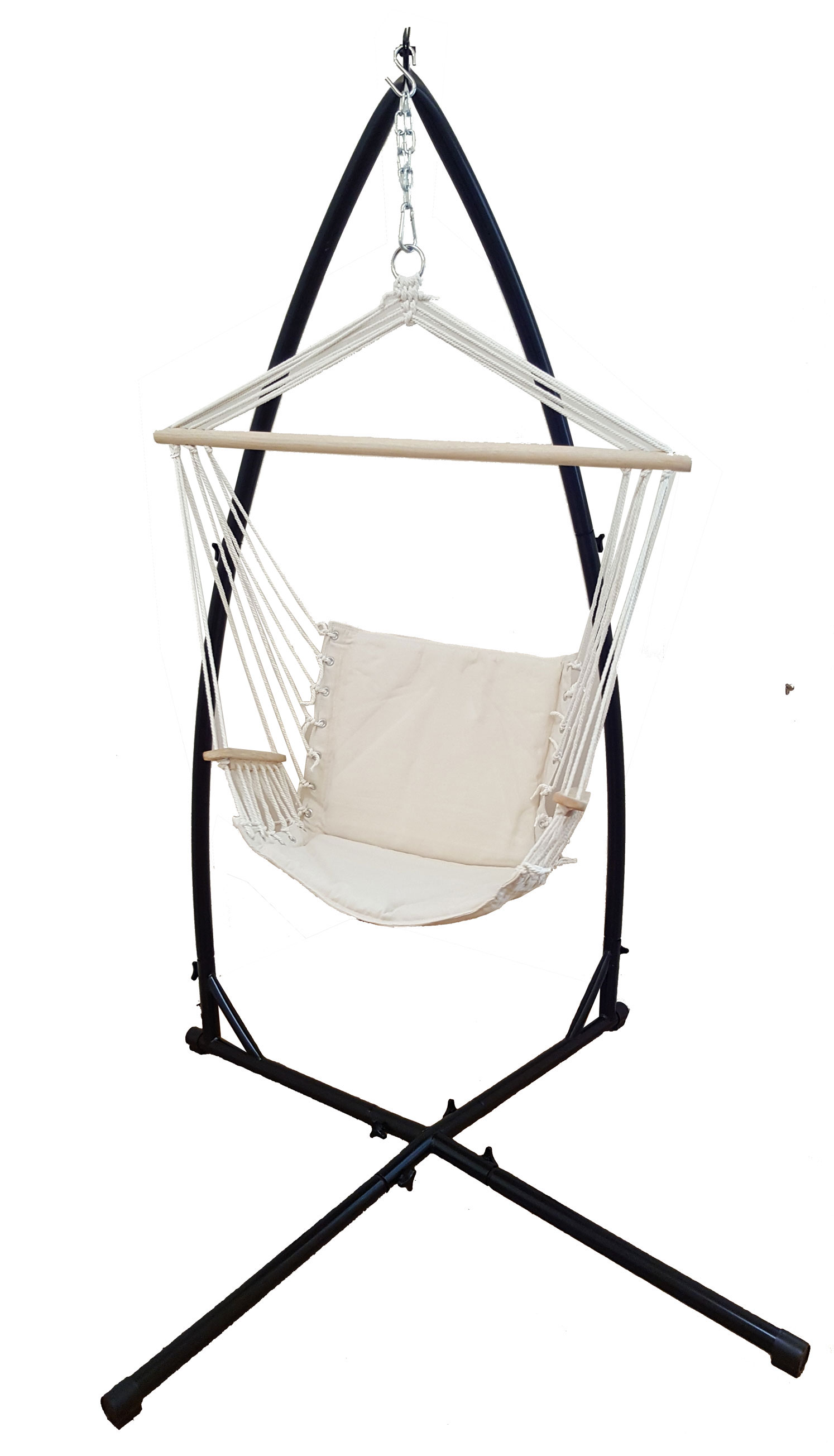 Beige Padded Hammock Chair With Wooden Arm Rests With