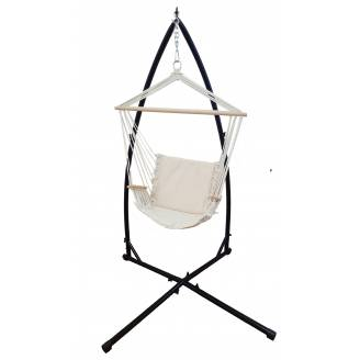 Beige Padded Hammock Chair with Wooden Arm Rests with Stand