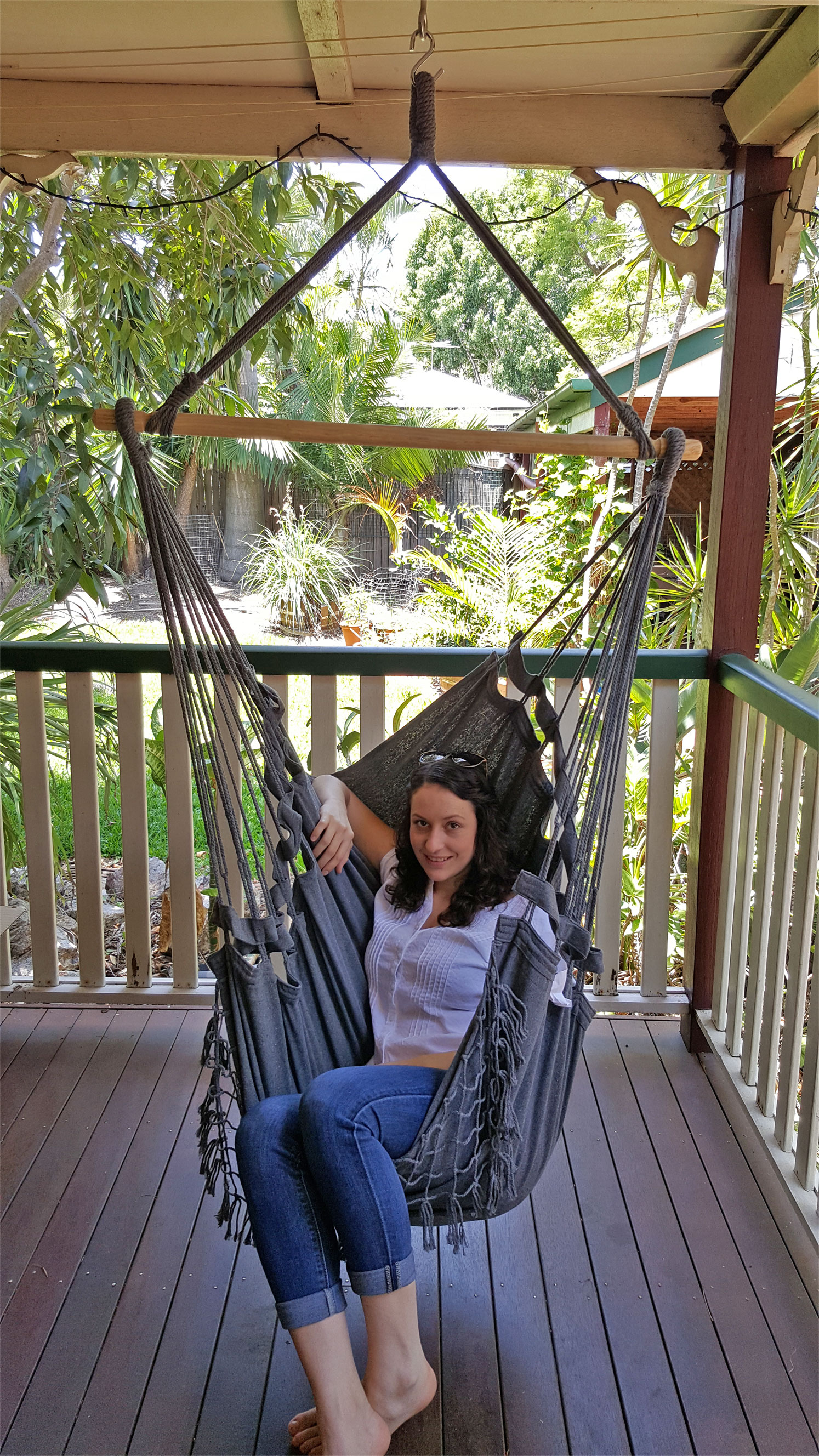 Black Canvas Hammock Chair With Tassels - Heavenly Hammocks