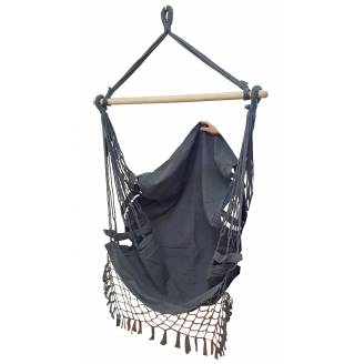 Black Canvas Hammock Chair with Tassels