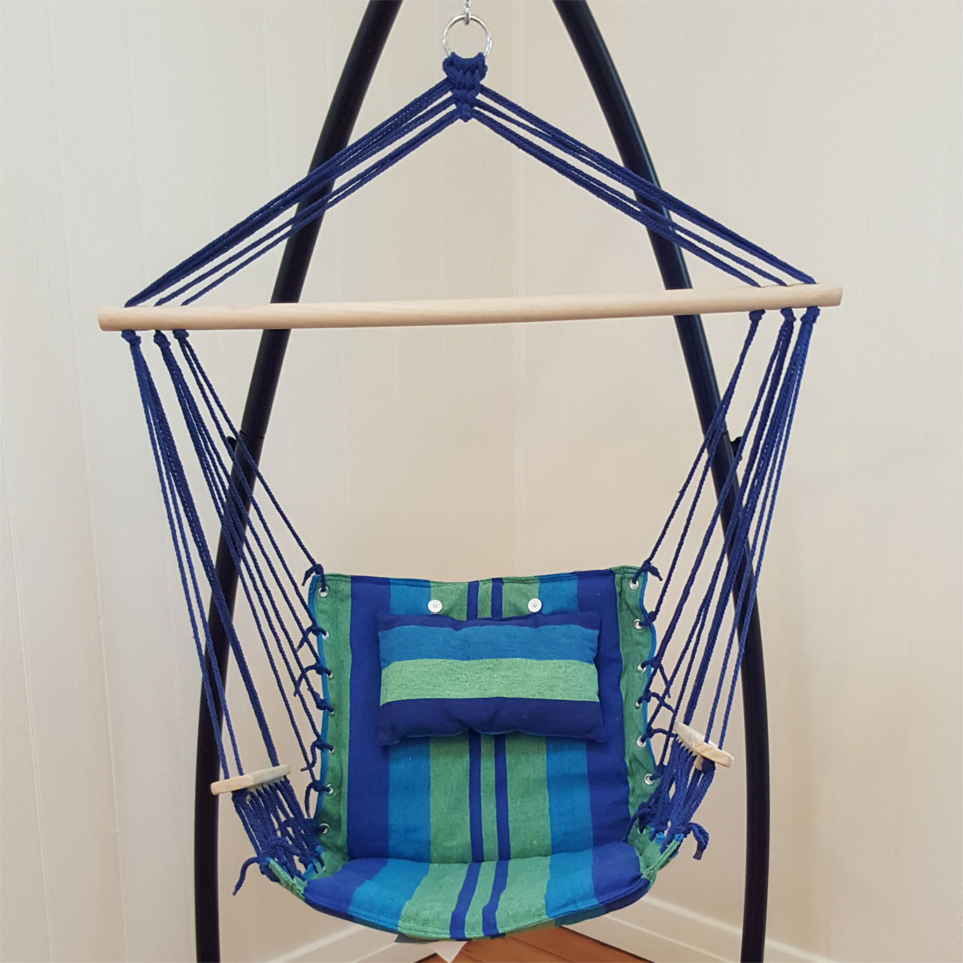 Blue Padded Hammock Chair With Wooden Arm Rests And Pillow ...