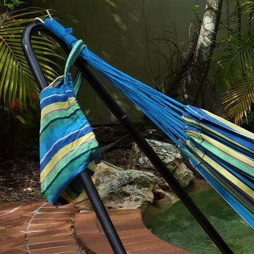 Large Blue and Yellow Multi-Coloured Canvas Hammock Carry Bag