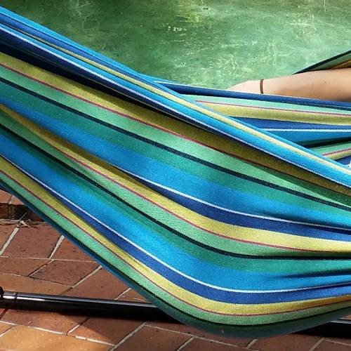 Large Blue and Yellow Multi-Coloured Canvas Hammock Material
