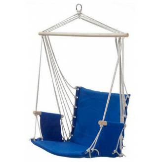 Blue Padded Hammock Chair with Wooden Arm Rests