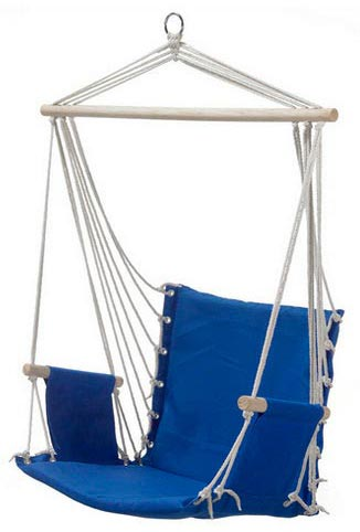 blue padded hammock chair with wooden arm rests blue padded hammock chair with wooden arm rests   heavenly hammocks  rh   heavenlyhammocks   au