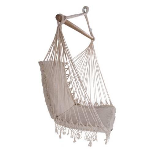 Brazilian Woven Cotton Padded Hammock Chair With Tassels