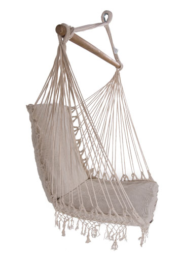 Medium image of brazilian woven cotton padded hammock chair with tassels   heavenly hammocks