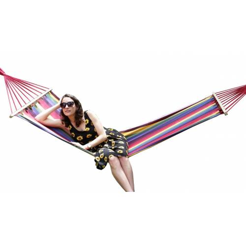 Small Bright Multi-Colour Canvas Hammock with Spreader Bar Thumbnail