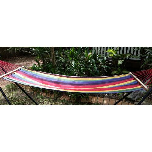 Small Bright Multi-Colour Canvas Hammock with Spreader Bar Side