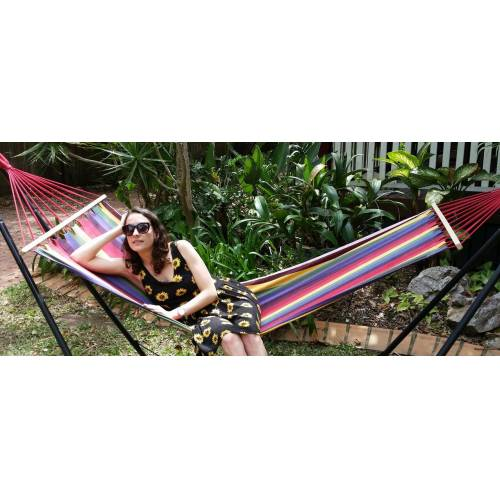 Small Bright Multi-Colour Canvas Hammock with Spreader Bar with Model