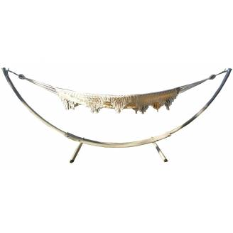 XL Free Standing Hammock: White Canvas Hammock with Tassels and Arc Stand