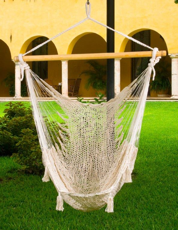X Large Mexican Hammock Chair Cream Cotton Heavenly