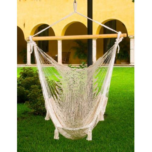 X-Large Cream Cotton Mexican Hammock Chair
