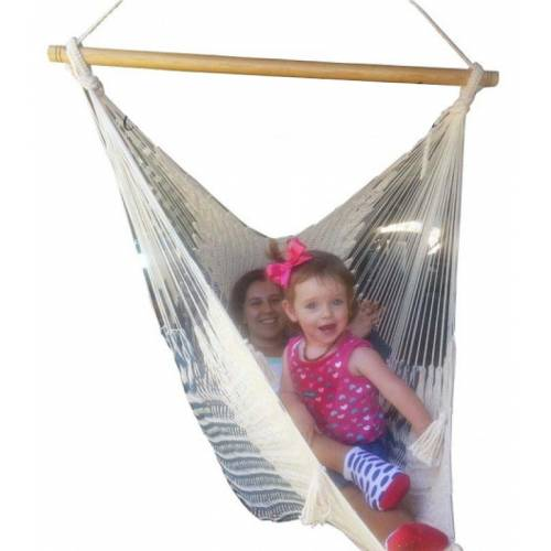 X-Large Cream Cotton Mexican Hammock Chair with People