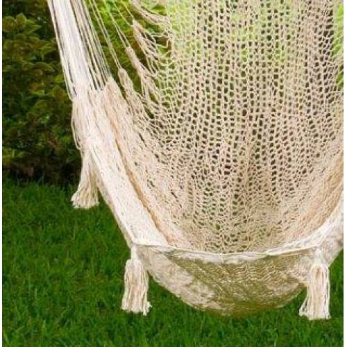 X-Large Cream Cotton Mexican Hammock Chair Zoomed