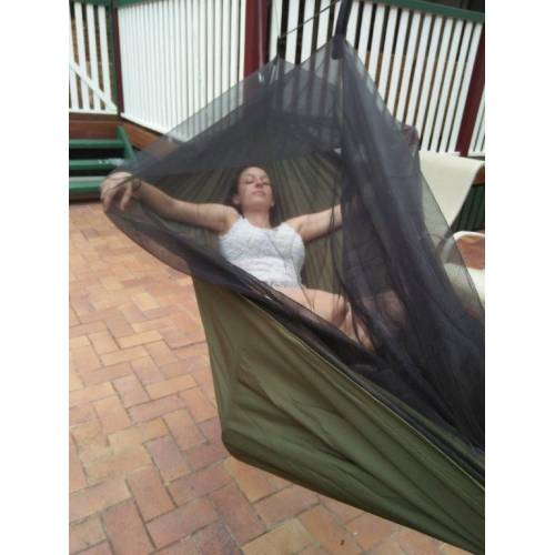 Dark Green Mosquito Net Hammock with Model