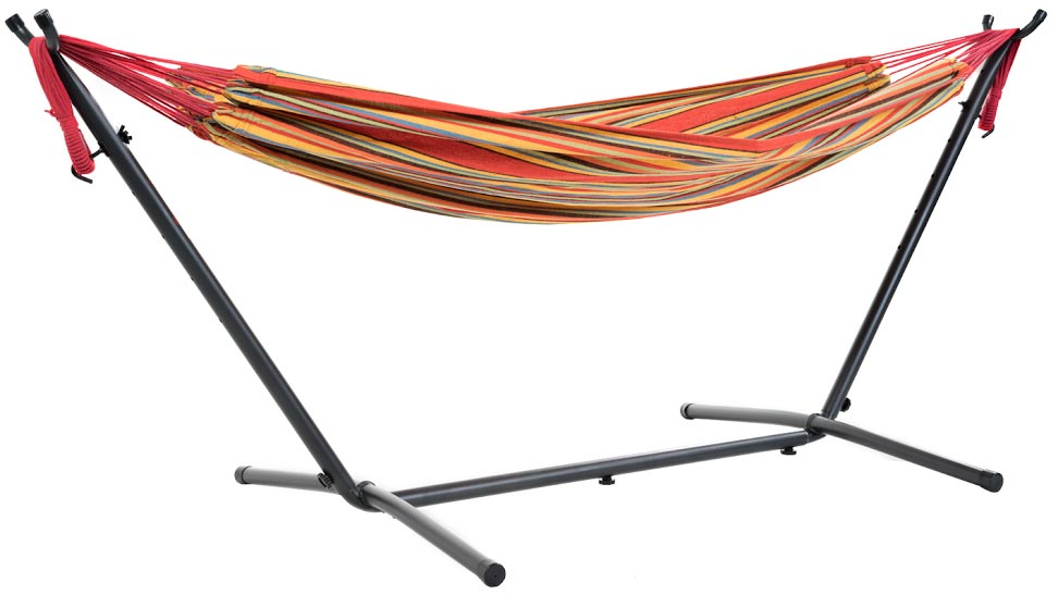 free standing portable hammock stand folded orange colour frame chair