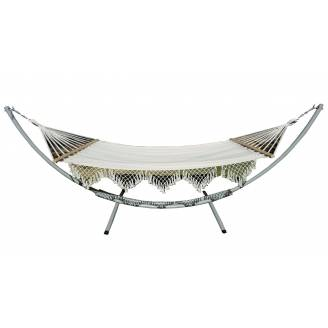 XL Free Standing Hammock: White Spreader Bar Canvas Hammock with Tassels and Arc Stand
