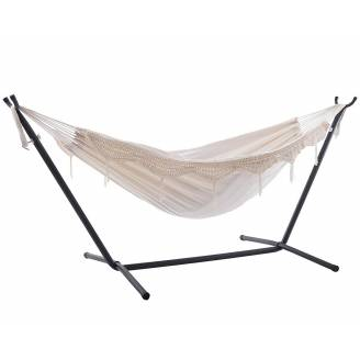 Free Standing Hammock: Large Beige with Tassels