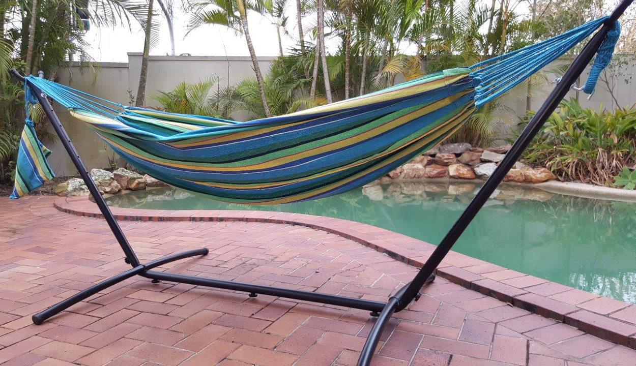 Free standing hammock teal blue canvas hammock with fixed for Free standing