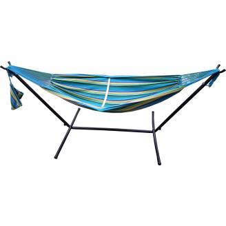Free Standing Hammock: Teal Blue Canvas Hammock with Fixed Stand