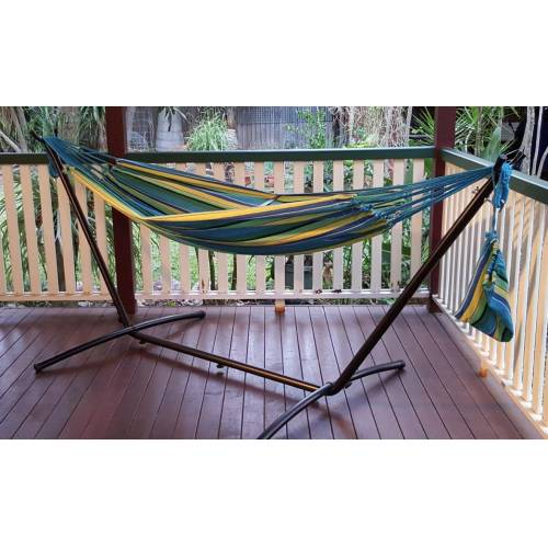 Free Standing Hammock Teal Blue Canvas Hammock With Fixed