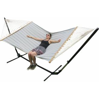 X Large Free Standing Hammock: Blue and White Canvas Hammock with Adjustable Stand