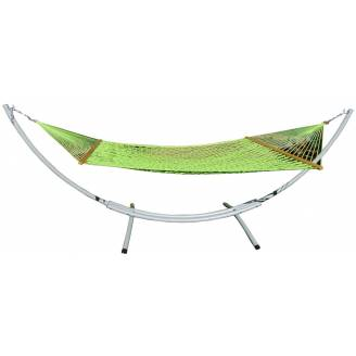 XL Free Standing Hammock: Green Rope Hammock and Arc Stand