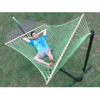 Large Green Cotton Rope Hammock with Spreader Bar