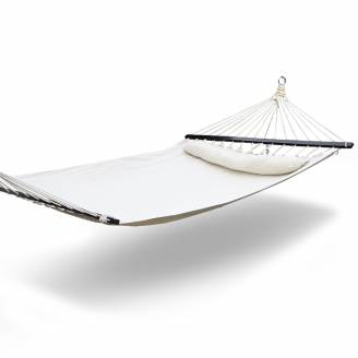 Large White Canvas Hammock with Dark Spreader Bar and Pillow