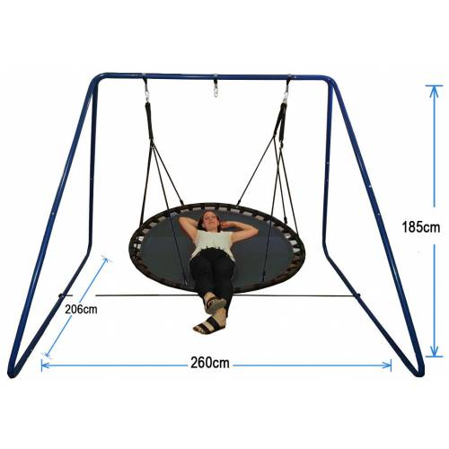 150cm Black Nest Swing with Blue Swing Set Stand